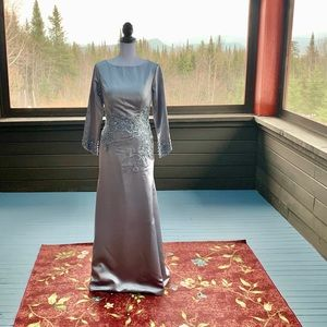 Gray Custom Lined Satin Gown